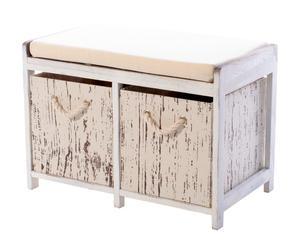Banco en madera de paulonia con 2 Cajones - Blanco Decapado