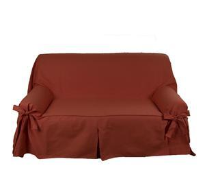 Funda sofá Lazos Cotton de 1 plaza, teja - 70-120