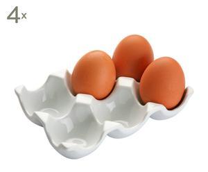 Set de 4 bandejas para huevos en porcelana – blanca