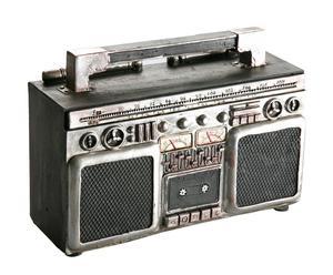 Hucha en poliresina Radio – negro