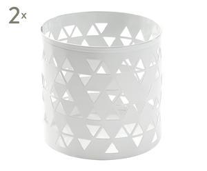 Set de 2 Portalápices Polygon - blanco