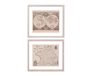 Set de 2 láminas enmarcadas en paulownia Mapa