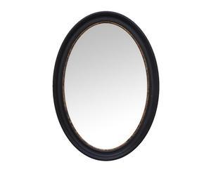 Espejo de madera de paulonia, ovalado - negro y oro envejecido