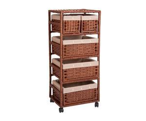 Cajonera de madera con 5 cestas, alta – marrón
