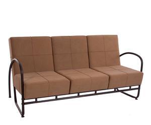Sofá de 3 plazas en hierro, DM y tela lino - marrón