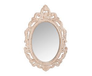 Espejo clásico en madera de pino y metal – blanco roto