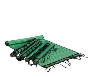 Set de 1 camino de mesa y 4 salvamanteles de tela – verde