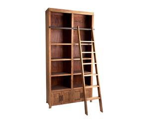 Estantería con escalera en madera de mindi – marrón envejecido