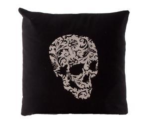 Cojín de algodón 100% Skull – negro y plateado