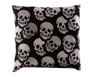 Cojín de algodón 100% Skulls – negro y plateado