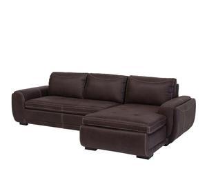 Sofá de 3 plazas con chaise longue en madera y polipiel I