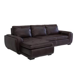 Sofá de 3 plazas con chaise longue en madera y polipiel II