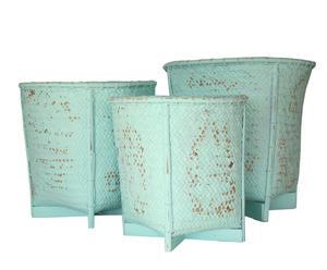 Set de 3 maceteros de bambú - azul decapado