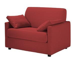 Sillón cama con revestimiento de tela y piel regenerada Feel – rojo