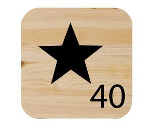 Cuadro de madera de pino maciza Símbolo estrella, natural - 15x15cm