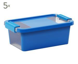 Set de 5 cajas de almacenaje Bibox, azul - XS