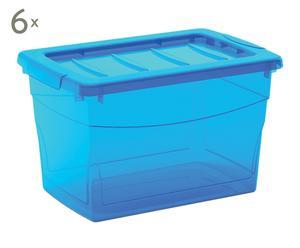 Set de 6 cajas de almacenaje Omnibox, azul - M