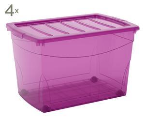 Set de 4 cajas de almacenaje Omnibox con ruedas, violeta - XL