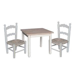 Set de mesa cuadrada y 2 sillas en madera Infantil