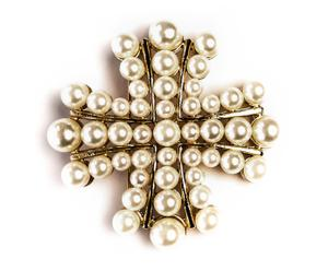 Broche de perlas Cross - dorado