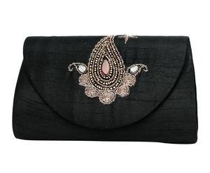 Cartera de seda con bordado y cristales Blake - negro