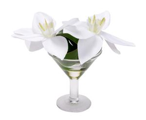 Jarrón de cristal con flores artificiales - blanco y verde