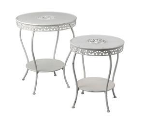 Set de 2 mesas auxiliares nido en metal - blanco