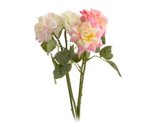 Set de 4 rosas artificiales – blanco y rosa