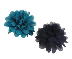 Set de 2 broches Flor – azul y negro