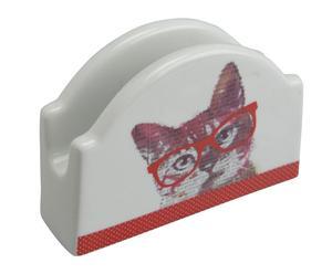 Servilletero de porcelana Cat