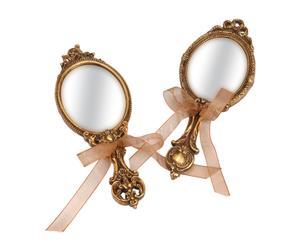 Set de 2 espejos de tocador de poliresina - dorado