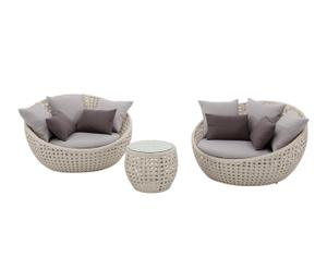 Set de 2 sillones y mesa de centro en aluminio y ratán Luna