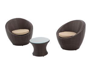 Set de 2 sillones y mesa de centro Ovalo