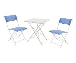 Set de 2 sillas plegables y mesa en hierro y textilene Her – azul