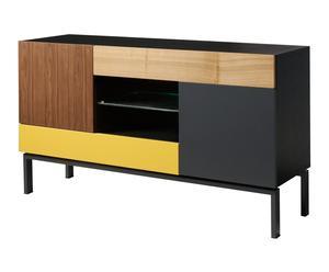 Aparador en DM y madera chapada de nogal – negro, amarillo y marrón