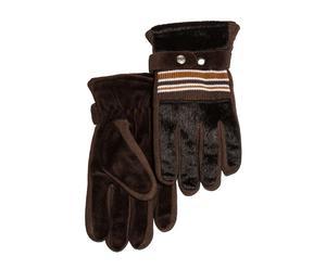 Set de 2 guantes de lana y pelo, marrón – talla L