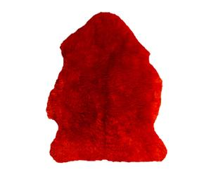 Alfombra en cuero y lana de oveja - rojo