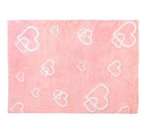 Alfombra de algodón Corazones, rosa – 120x160 cm