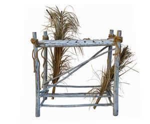 Mesa de madera y anea - blanco