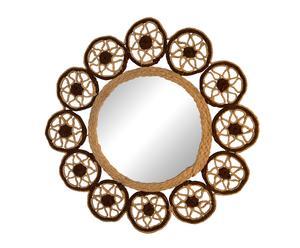 Espejo de sisal Rombos – Ø 46 cm