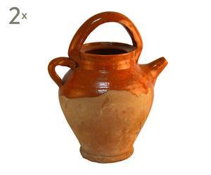 Set de 2 botijos de cerámica rústica