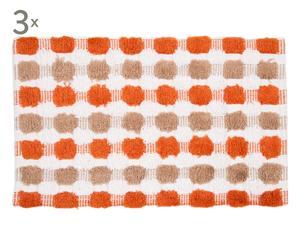 Set de 3 Alfombras de baño de algodón Budapest – Naranja