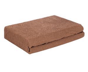 Funda de sofá de poliéster y algodón Lisa, chocolate – 230x190cm