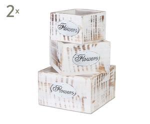 Set de 6 cajas vintage en madera decapada