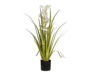 Planta de césped y campanillas artificial - blanco
