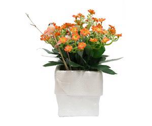 Planta kalanchoe artificial con maceta - naranja