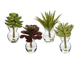 Set de 4 plantas artificiales con jarrón