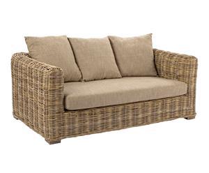 Sofá de madera de mango, algodón y ratán I – beige y marrón
