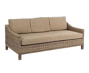 Sofá de madera de mango, algodón y ratán III – beige y marrón