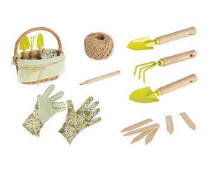 Set de cesta y 8 herramientas de jardinería I - multicolor